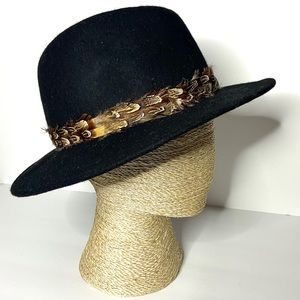 Staring at Stars Black Wool and Feathers Hat